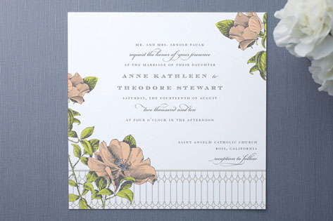 Draped in beautiful floral these wedding invitations feature a garden of