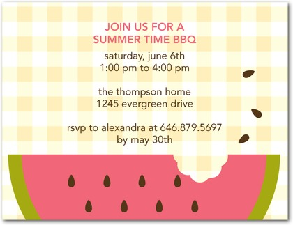 Watermelon Bite Summer Party Invitations