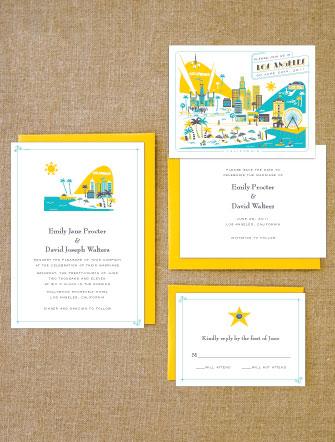 Lab Partners Hello! Lucky Los Angeles Wedding Invitations