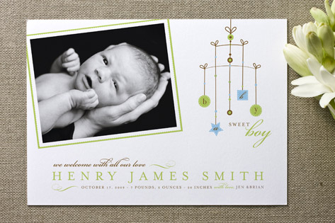 Mobile Birth Announcements by Ann Rae Paperie