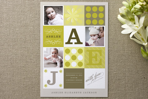Mod Quilt Birth Announcements by Potts Design