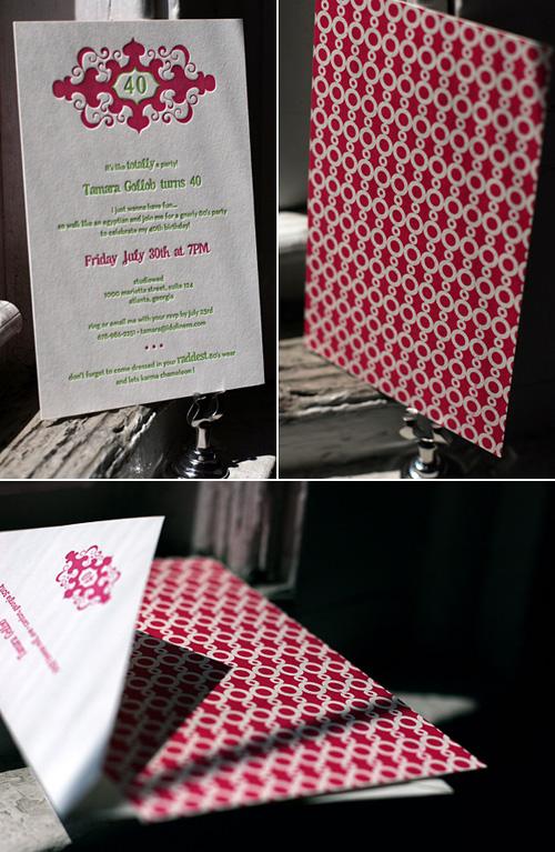 Letterpress 40th Birthday Party Invitations