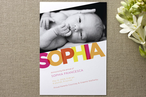 Sophia Birth Announcements by Paper Plains