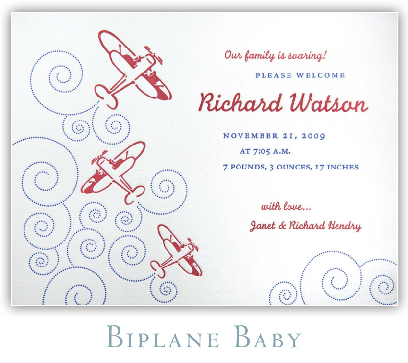 Biplane Baby Letterpress Birth Announcement
