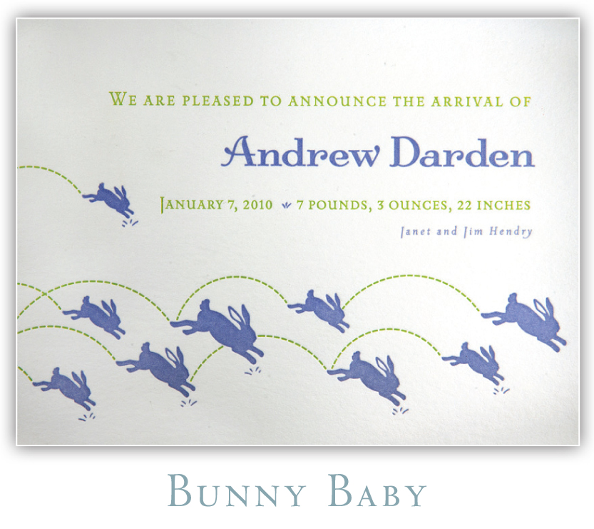 Bunny Baby Letterpress Birth Announcement