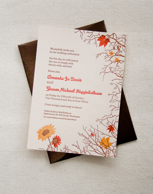 Custom Letterpress Wedding Invitation