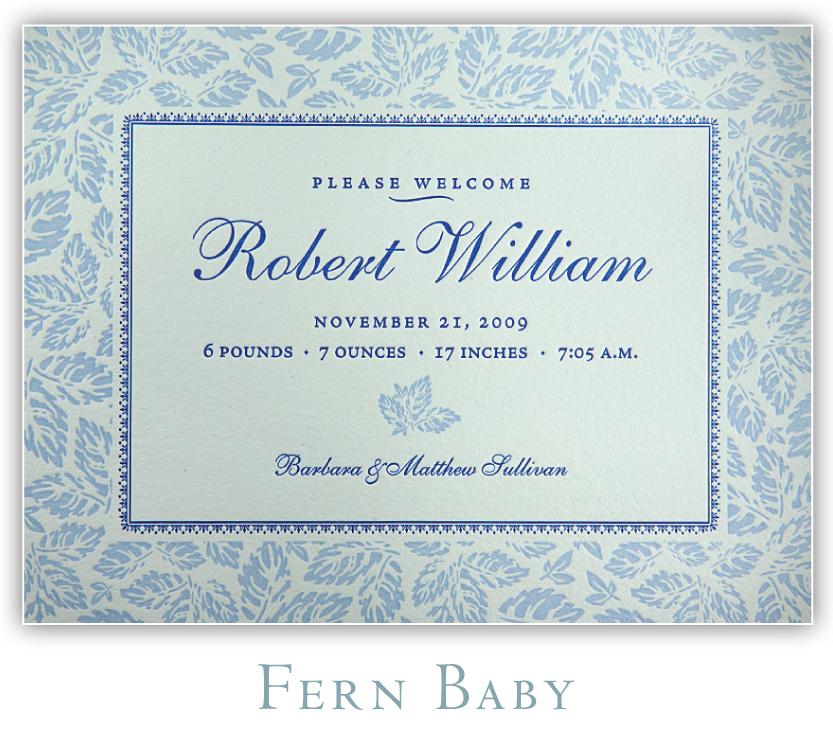 Fern Baby Letterpress Birth Announcement