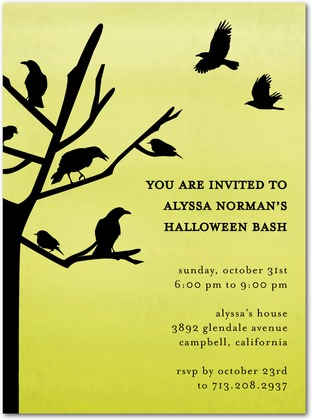 Halloween Party Invites Crow's Nest