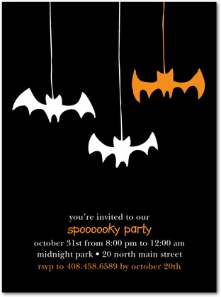 Hanging Bats Halloween Party Invitations Paper Crave