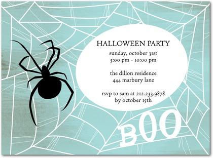 Halloween Party Invites Spider Web