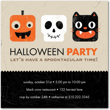 Halloween Party Invites Square Heads