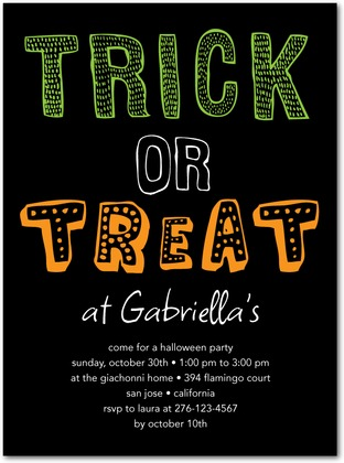 Halloween Party Invitations Tricky Pick