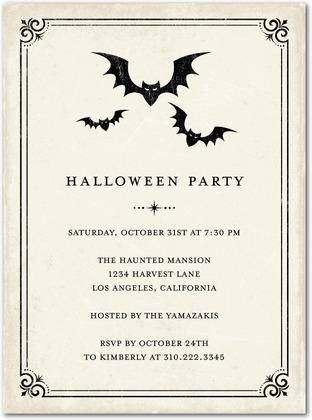 Vintage Bats Halloween Party Invitations - Paper Crave