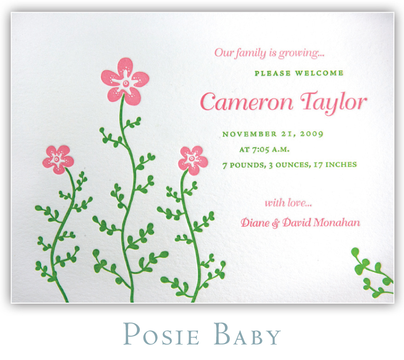 Posie Baby Letterpress Birth Announcement