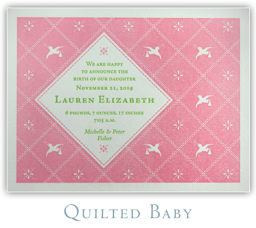 Quilted Baby Letterpress Birth Announcement
