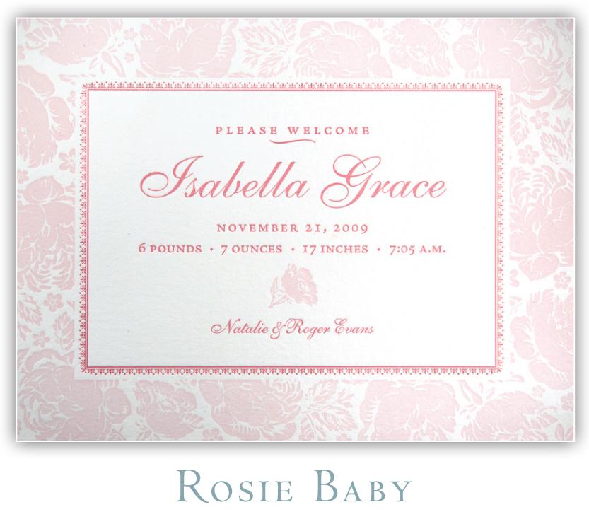 Rosie Baby Letterpress Birth Announcement