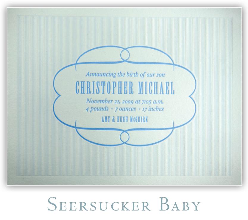 Seersucker Baby Letterpress Birth Announcement