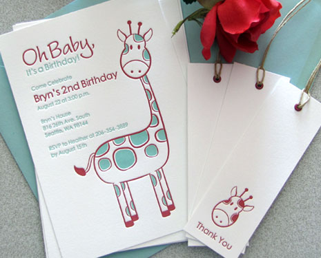 Sweet Harvey Custom Letterpress Birthday Invitations