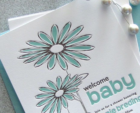 Sweet Harvey Custom Letterpress Baby Shower Invites