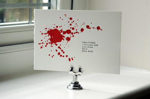 Blood Splatter Halloweeen Invitations