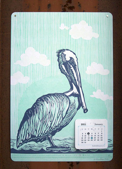 Blackbird Letterpress Might Pelican 2011 Calendar
