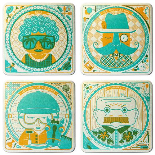 Cranky Pressman Die Cut Letterpress Coasters