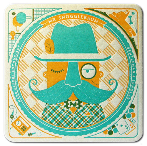 Mr. Snogglebaum Letterpress Coaster