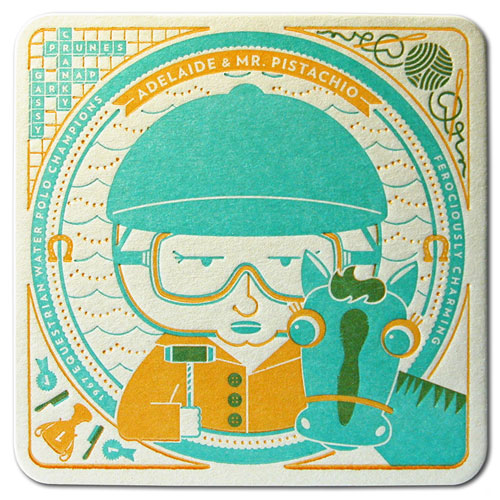Adelaide & Mr. Pistachio Letterpress Coaster
