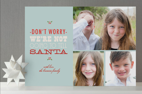 Don't Tell Santa Holiday Photo Cards