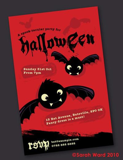 Gingerbred Custom Halloween Bat Invitations