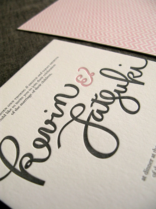 Hand Lettered Letterpress Wedding Invites