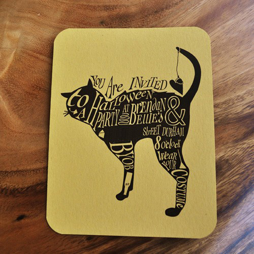 Black Cat Postcard Halloween Invitations