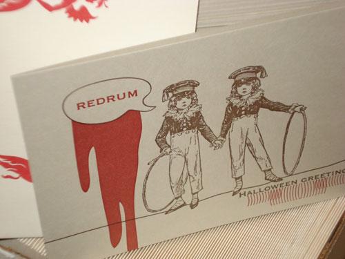 Oddball Press Redrum Halloween Card