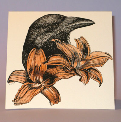 Paper Stone Crow and Lily Card