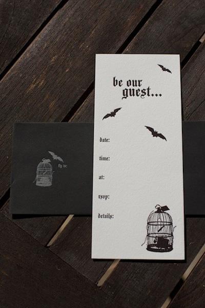 Letterpress Fill In Halloween Party Invitations
