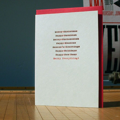 A. Favorite Edited Letterpress Holiday Card