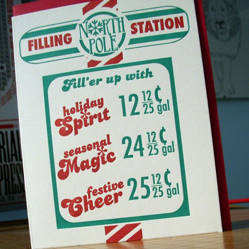 A. Favorite Holiday Filling Station Letterpress Card