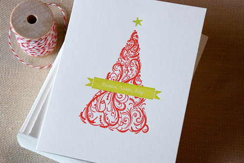 Cartoules Letterpress Christmas Tree Card
