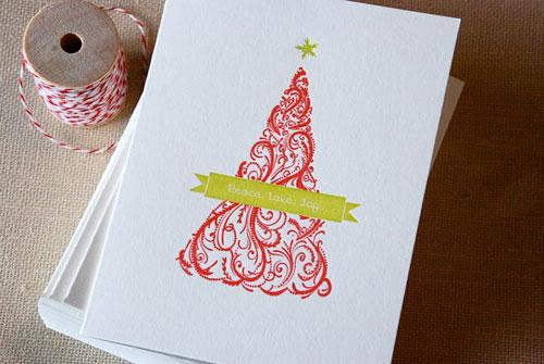 Cartoules Letterpress Christmas Tree Card
