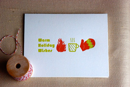 Warm Holiday Wishes Letterpress Card