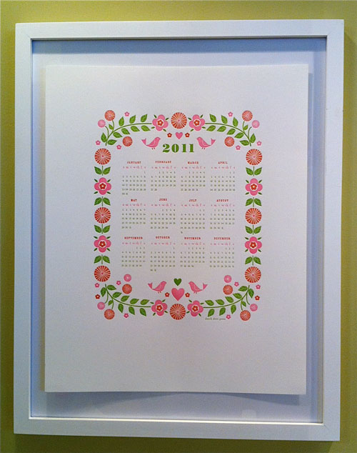 2011 Letterpress Calendar Dutch Door