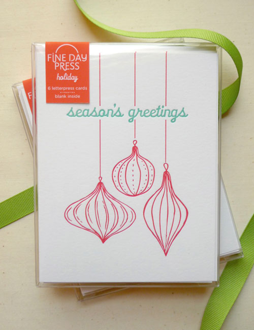 Letterpress Holiday Ornament Greeting Card