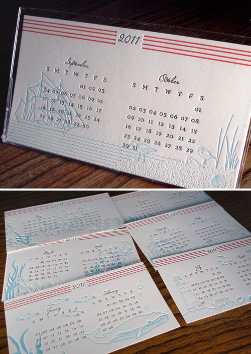 life illustrations with two months per page: Letterpress Desk Calendar
