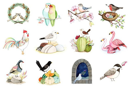 JooJoo 2011 Watercolor Bird Calendar
