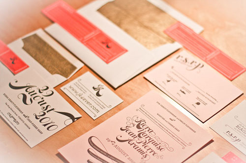 Pink Gold Letterpress Wedding Invitations