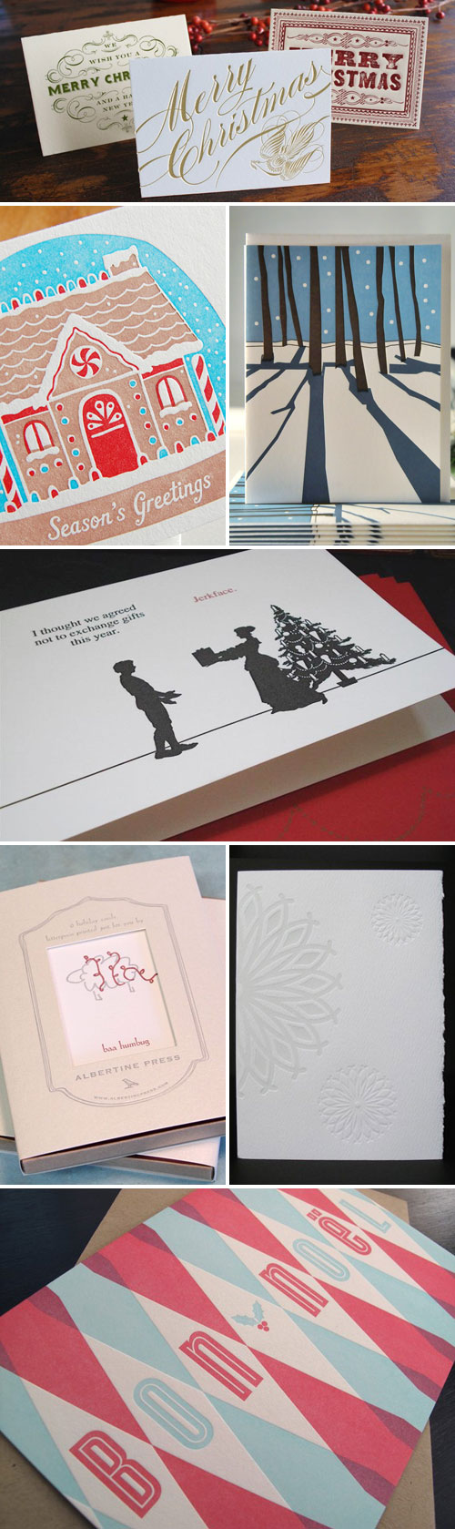 Letterpress Christmas Holiday Cards