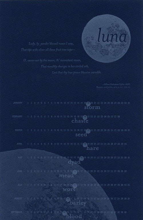 Lizard Press Letterpress Luna Calendar