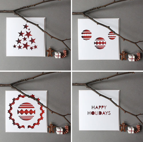 mrYen Hand Cut Papercut Christmas Cards