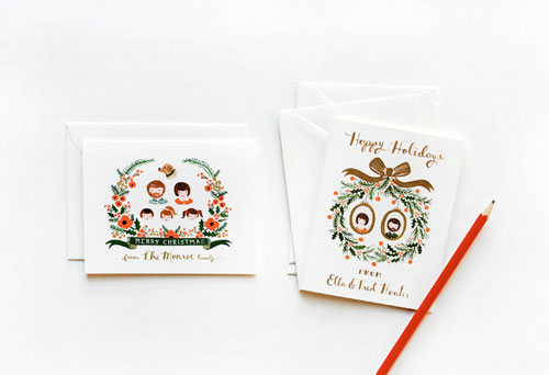 Custom Illustrated Holiday Cards Rifle Paper