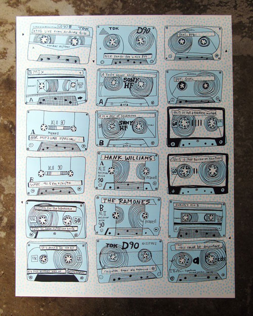 Mixtape Screenprint Kate Bingaman Burt